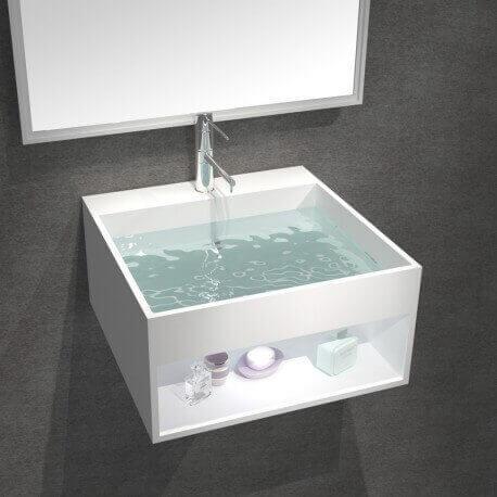 Lavabo Suspendu Carré - Solid Surface Blanc Mat - 30x30 cm - AllDay   Rue du Bain
