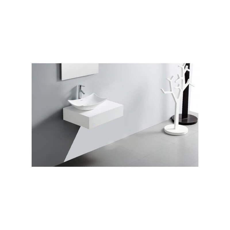 Plan vasque salle de bain bois laqu blanc noir 60x50 cm for Vasque verre salle de bain