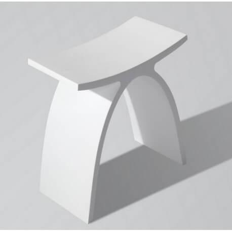 Tabouret mineral composite blanc mat accessoire salle de bain - Accessoire salle de bain blanc ...