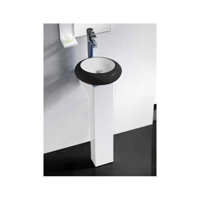 Piedestal bois laqu pour vasque poser accessoire salle - Meuble pour vasque a poser ikea ...
