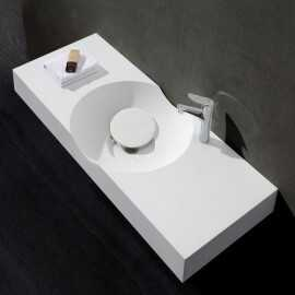Lavabo Suspendu Rectangulaire Blanc Mat, 100x48 cm, Composite, Clas