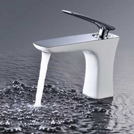 Robinet mitigeur lavabo - chromé/ blanc - Concep't | Rue du Bain
