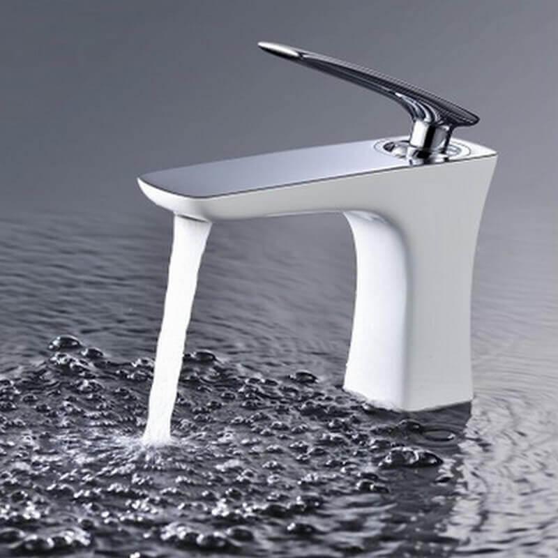 Robinet Mitigeur Design Chromé Blanc Concept